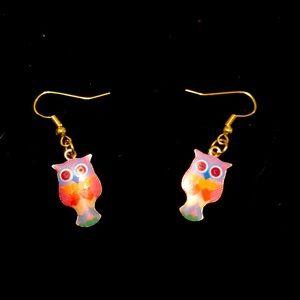 Owl enamel earrings